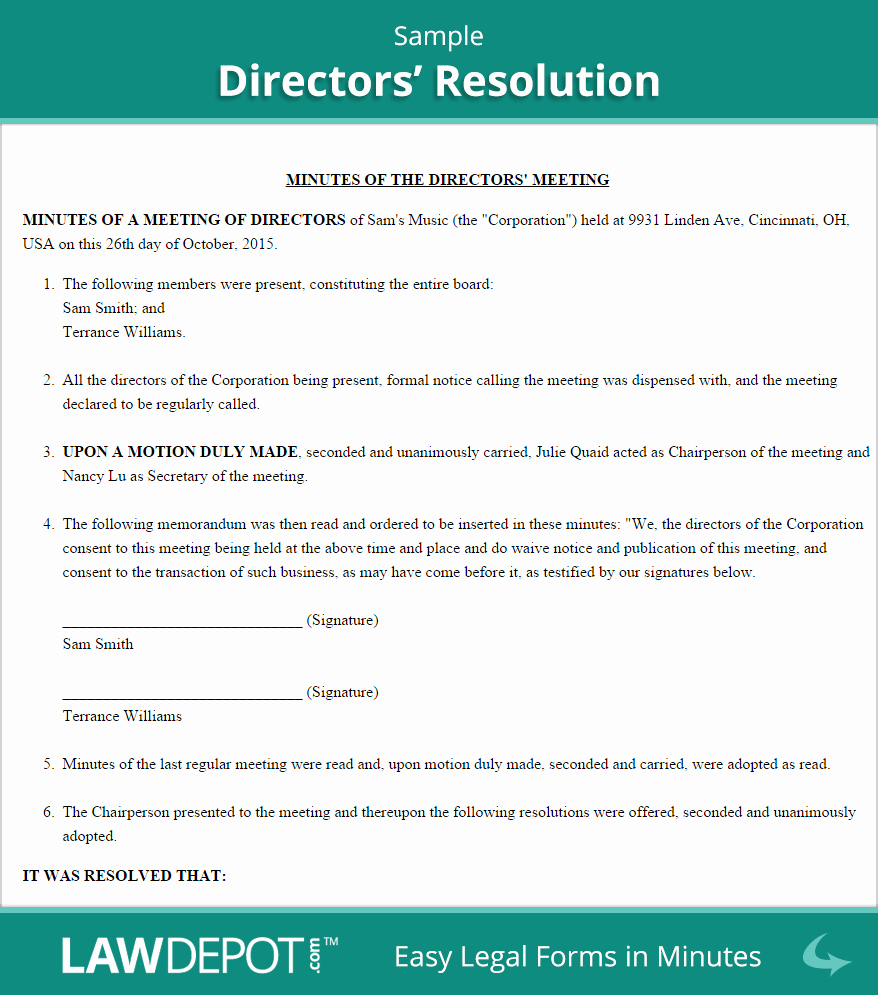 Corporate Resolution Authorized Signers Template Fresh Directors Resolution form