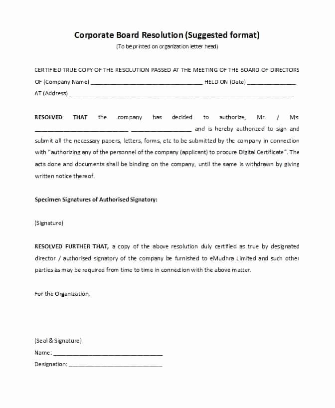 Corporate Resolution Authorized Signers Template Lovely 37 Printable Corporate Resolution forms Template Lab