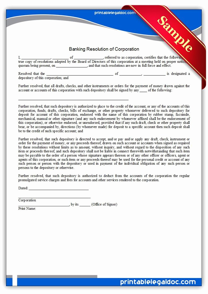 Corporate Resolution Authorized Signers Template New Free Printable Banking Resolution Corporation