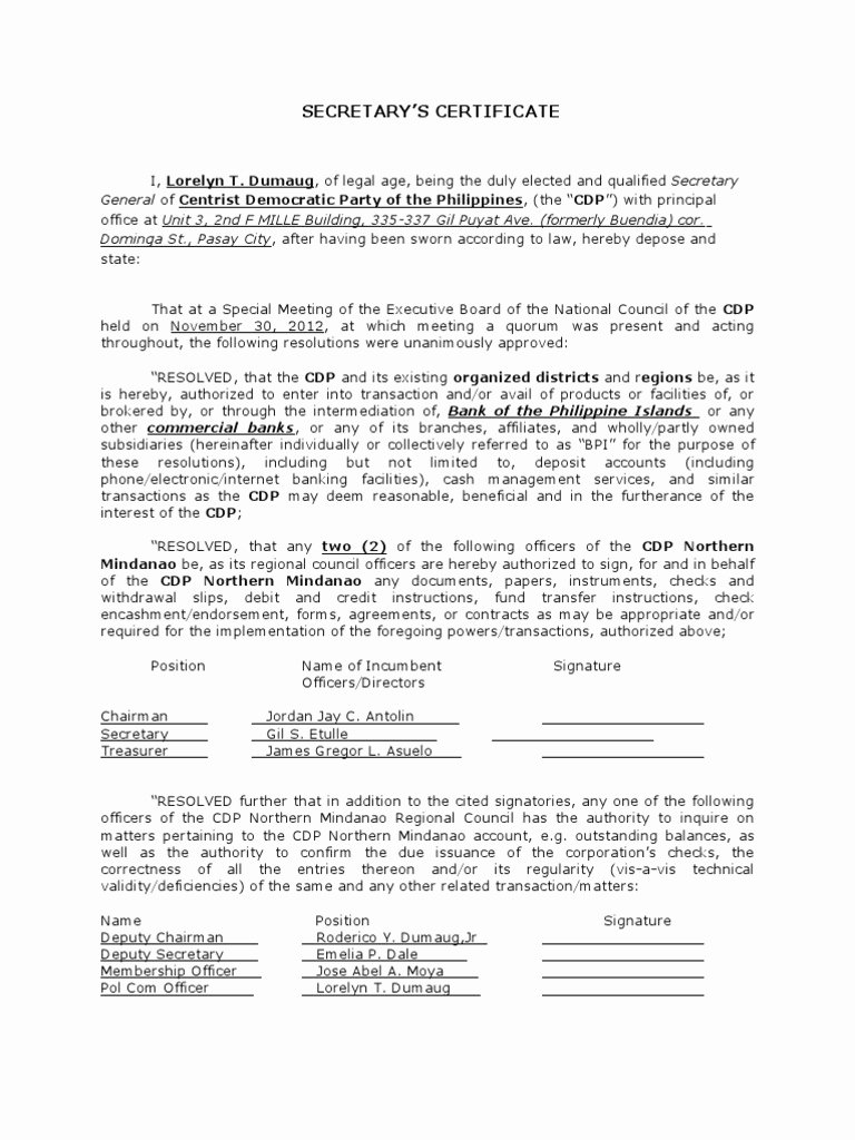 Corporate Resolution Authorized Signers Template Unique Board Resolution or Corporate Secretary S Certificate with