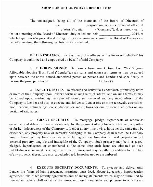 Corporate Resolution Authorized Signers Template Unique Corporate Resolution Template for Banking Templates