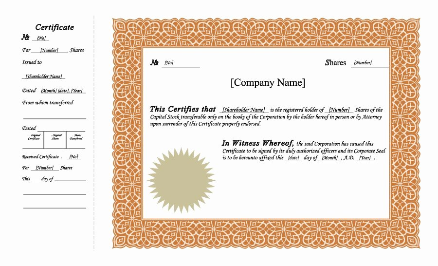 Corporate Stock Certificate Template Beautiful 40 Free Stock Certificate Templates Word Pdf