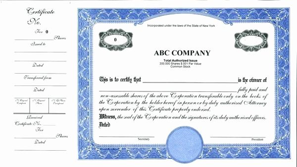 Corporate Stock Certificate Template Beautiful Certificate Template Word format Editable Download