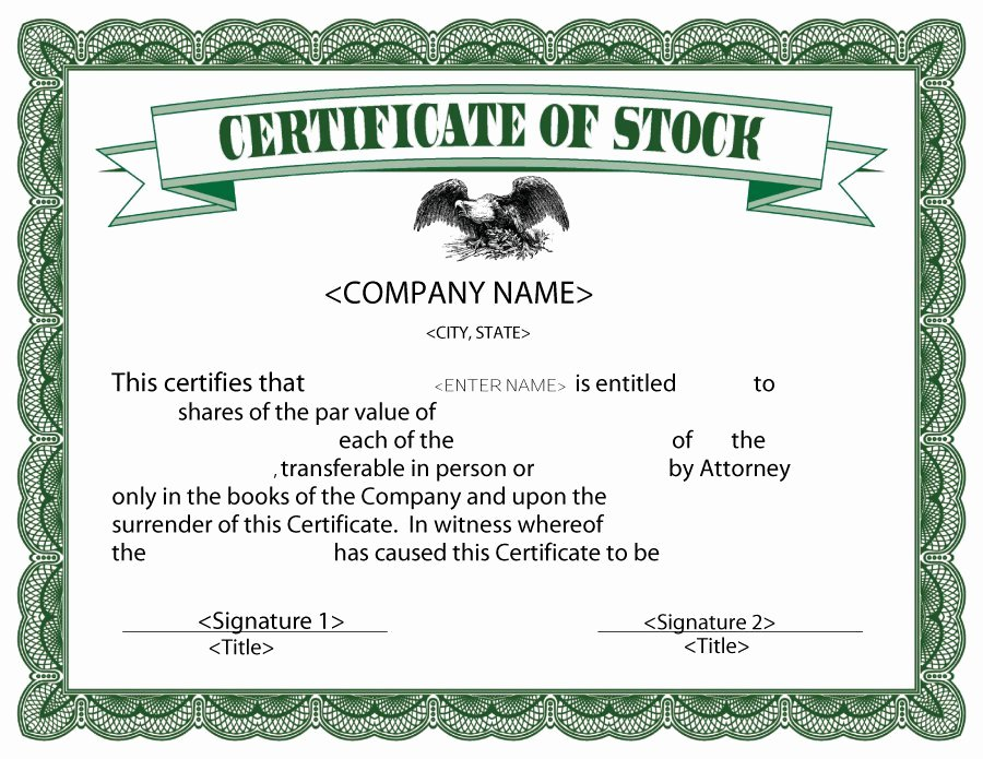 Corporate Stock Certificate Template Beautiful formatted Stock Certificate Templates
