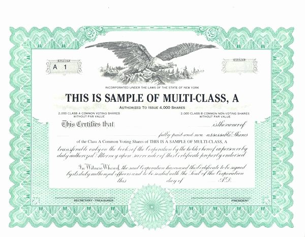 Corporate Stock Certificate Template Beautiful Sample Stock Certificate Template – Goeventz