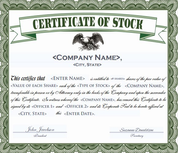 Corporate Stock Certificate Template Inspirational Corporation Stock Certificate