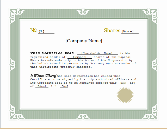 Corporate Stock Certificate Template New Customizable Stock Certificate Template for Word