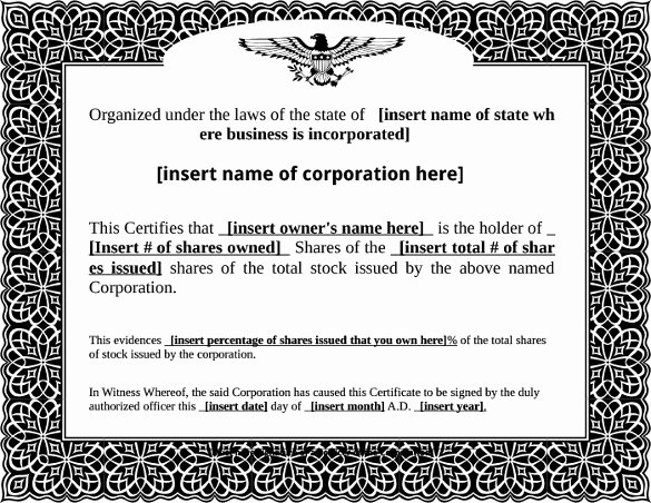 Corporate Stock Certificate Template Unique 22 Stock Certificate Templates Word Psd Ai Publisher