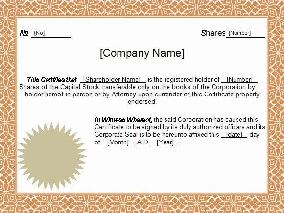 Corporate Stock Certificate Template Unique 5 Sample Stock Certificate Templates to Download