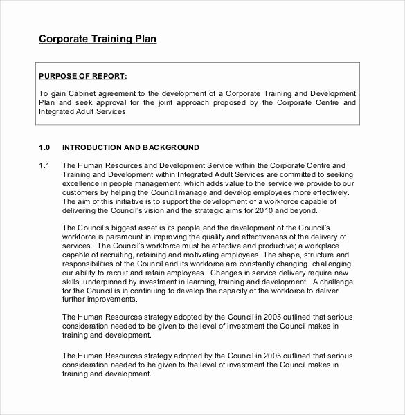 Corporate Training Plan Template Unique 25 Training Plan Templates Doc Pdf
