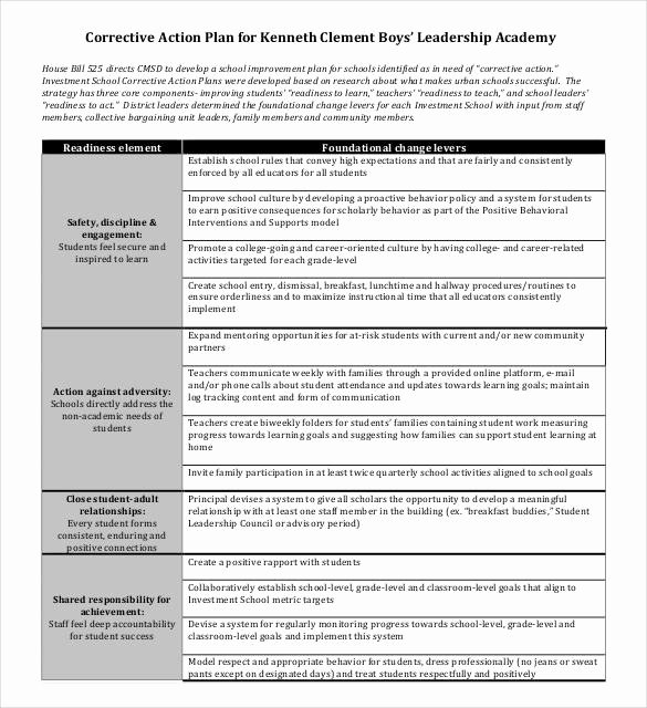 Corrective Action Plan Template Word Awesome Corrective Action Plan Template 25 Free Word Excel Pdf