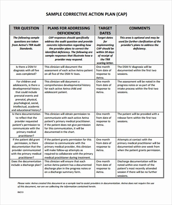 Corrective Action Plan Template Word Elegant Sample Corrective Action Plan Template 9 Documents In