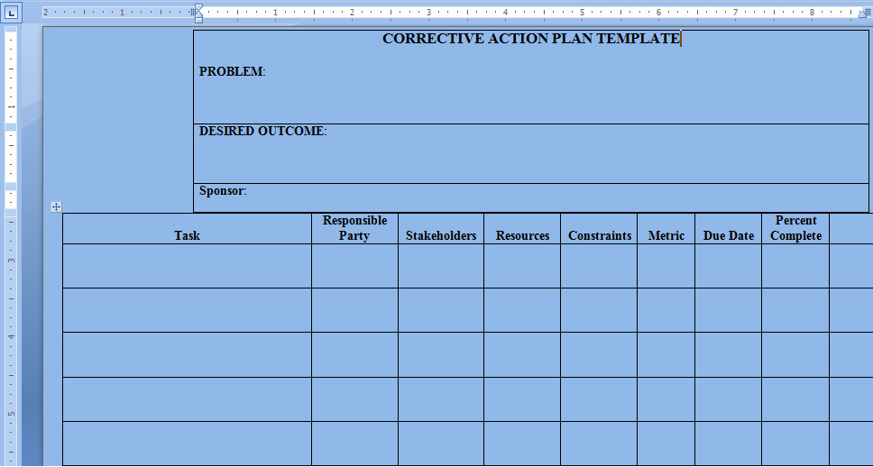 Corrective Action Plan Template Word Lovely Corrective Action Plan Template Word – Project Management