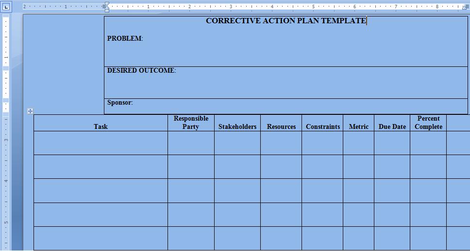 Corrective Action Plan Template Word Luxury Corrective Action Plan Template Word Project Management
