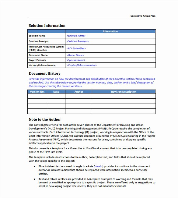 Corrective Action Plan Template Word Unique Sample Corrective Action Plan Template 9 Documents In