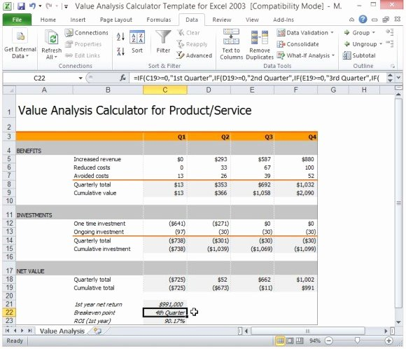 Cost Analysis Excel Template Luxury Value Analysis Calculator Template for Excel