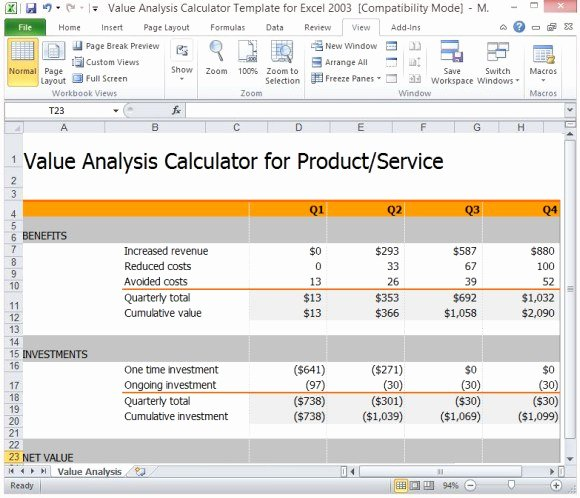Cost Analysis Template Excel Unique Value Analysis Calculator Template for Excel
