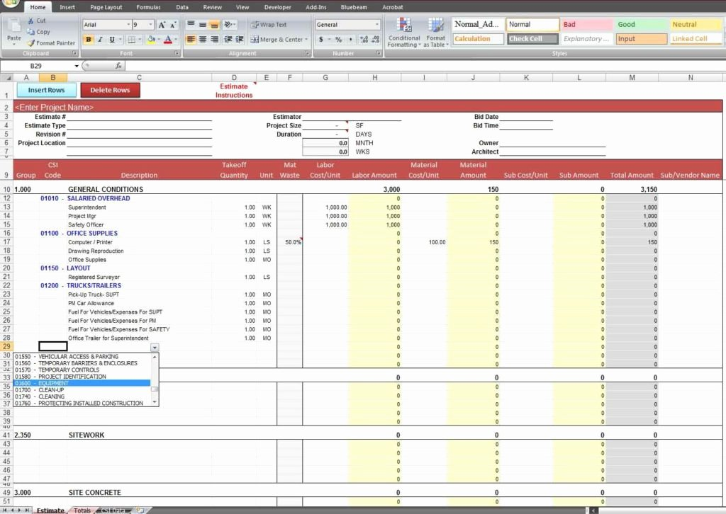 Cost Estimate Template Excel Awesome Cost Estimate Spreadsheet Template Estimate Spreadsheet