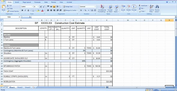 Cost Estimate Template Excel Beautiful Construction Cost Estimate Template Free Download