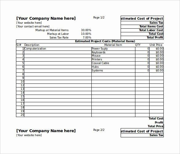 Cost Estimate Template Excel Elegant 26 Blank Estimate Templates Pdf Doc Excel Odt
