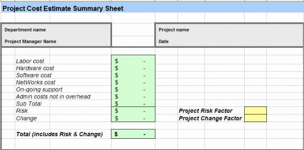 Cost Estimate Template Excel Luxury Project Cost Estimating Template Excel Spreadsheet