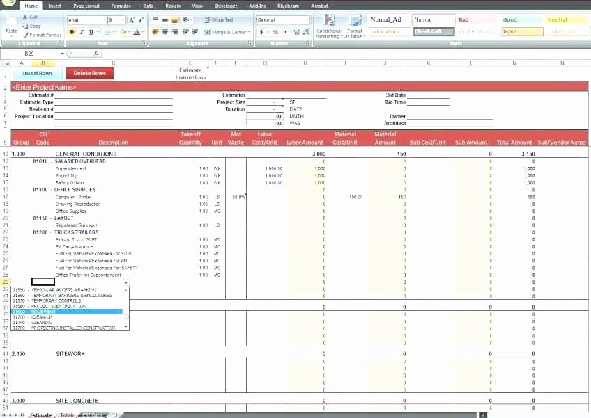 Cost Estimate Template Excel New Free Construction Cost Estimate Excel Template Spreadsheet