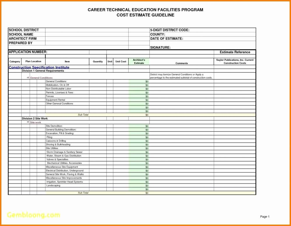 Cost Estimate Template Excel New Residential Construction Cost Estimator Excel