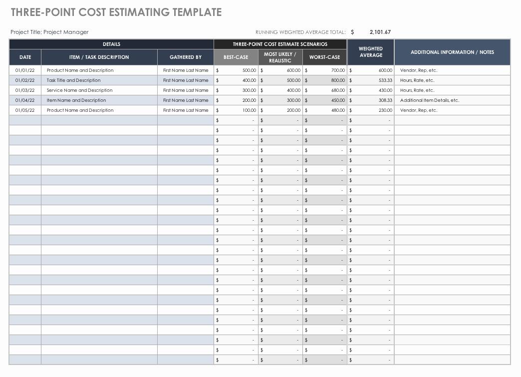 Cost Estimate Template Excel Unique Free Estimate Templates