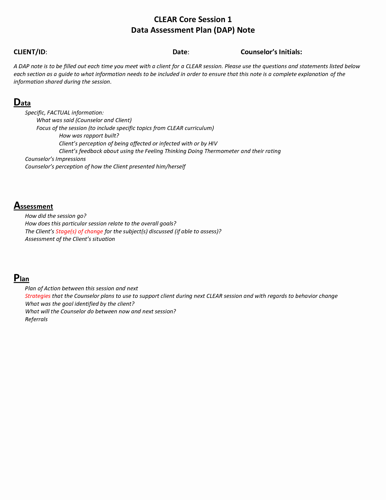 Counseling Case Note Template Fresh Dap Counseling Notes Template