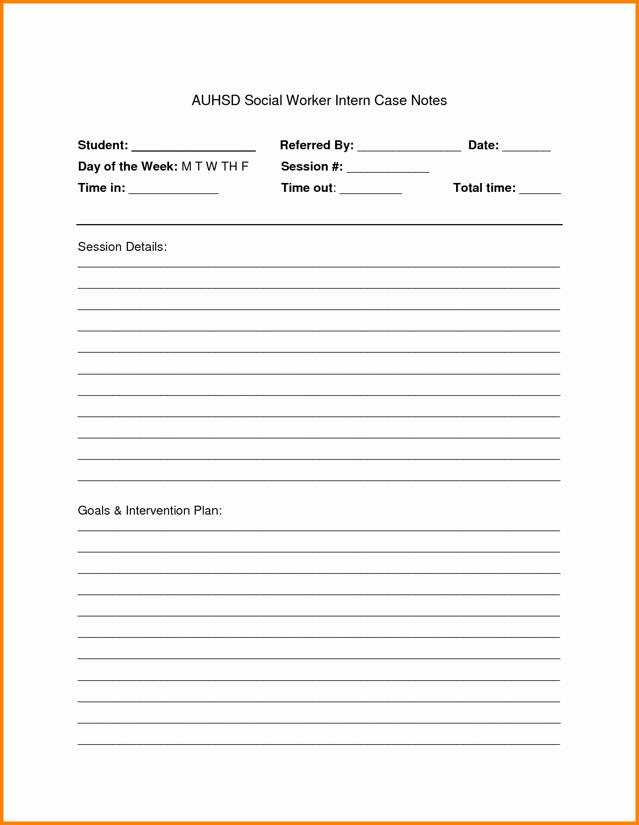 case notes template word