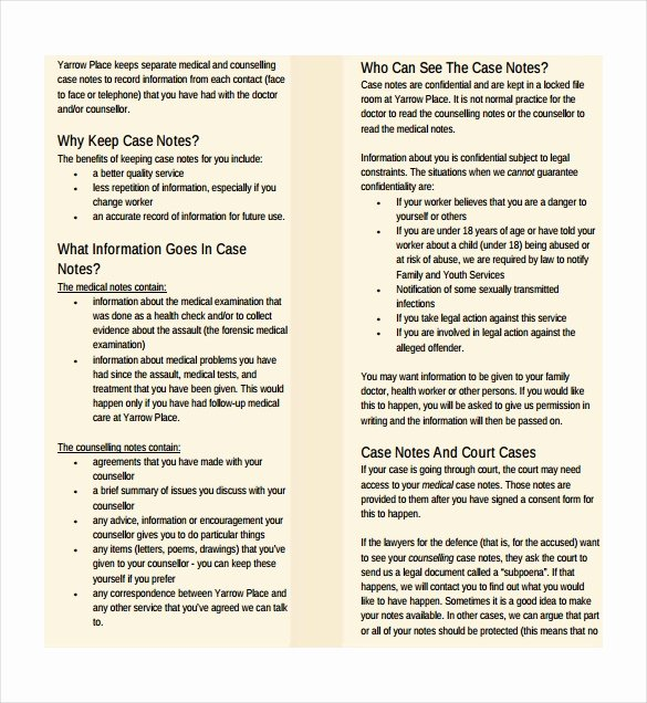 Counseling Case Note Template Luxury Case Notes Template – 7 Free Word Pdf Documents Download