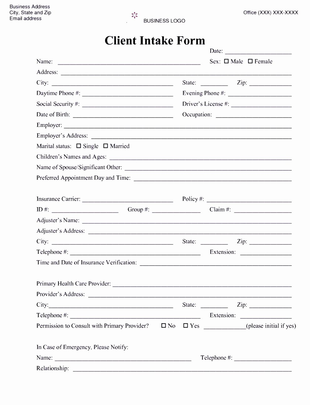 Counseling Intake form Template Awesome 6 Counselling Referral form Template Uyefi