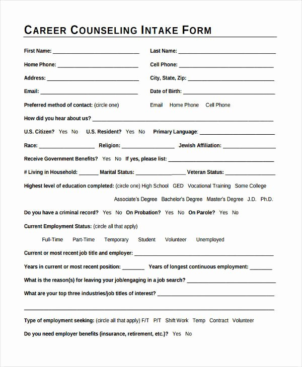 Counseling Intake form Template Elegant 38 Counseling forms In Pdf