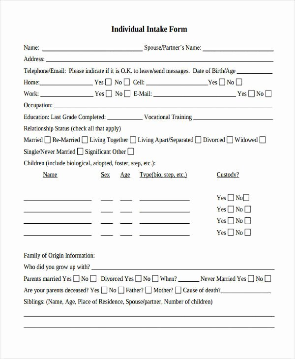 Counseling Intake form Template Fresh 38 Counseling forms In Pdf