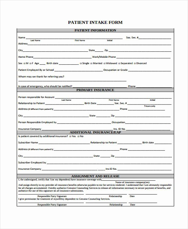 Counseling Intake form Template Lovely 48 Counseling form Examples
