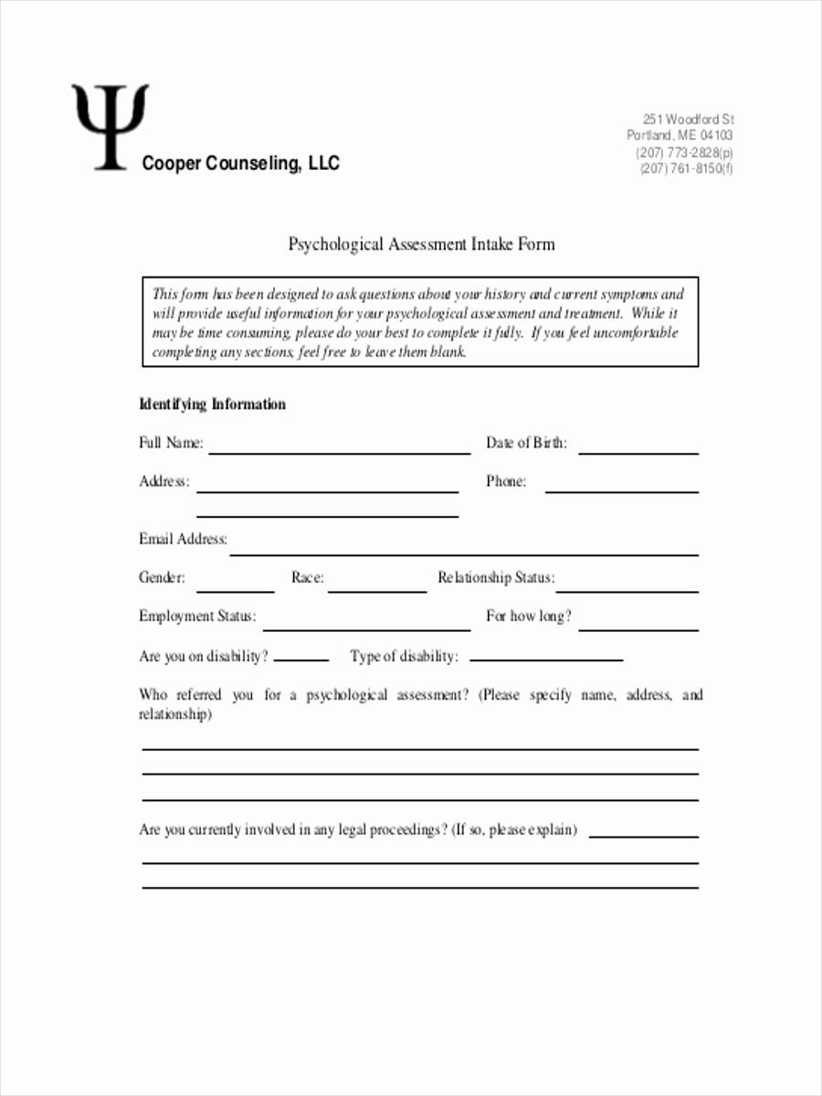 Counseling Intake form Template Lovely assessment Intake form 11 Free Documents In Word Pdf