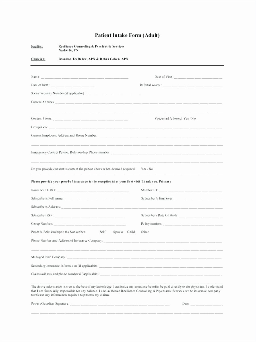 Counseling Intake form Template Lovely Intake form Template