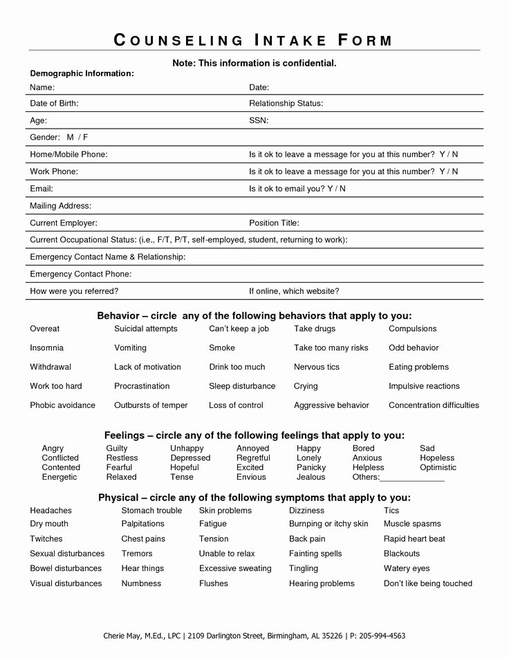 Counseling Intake form Template Luxury Intake form for Counseling Clients Google Search
