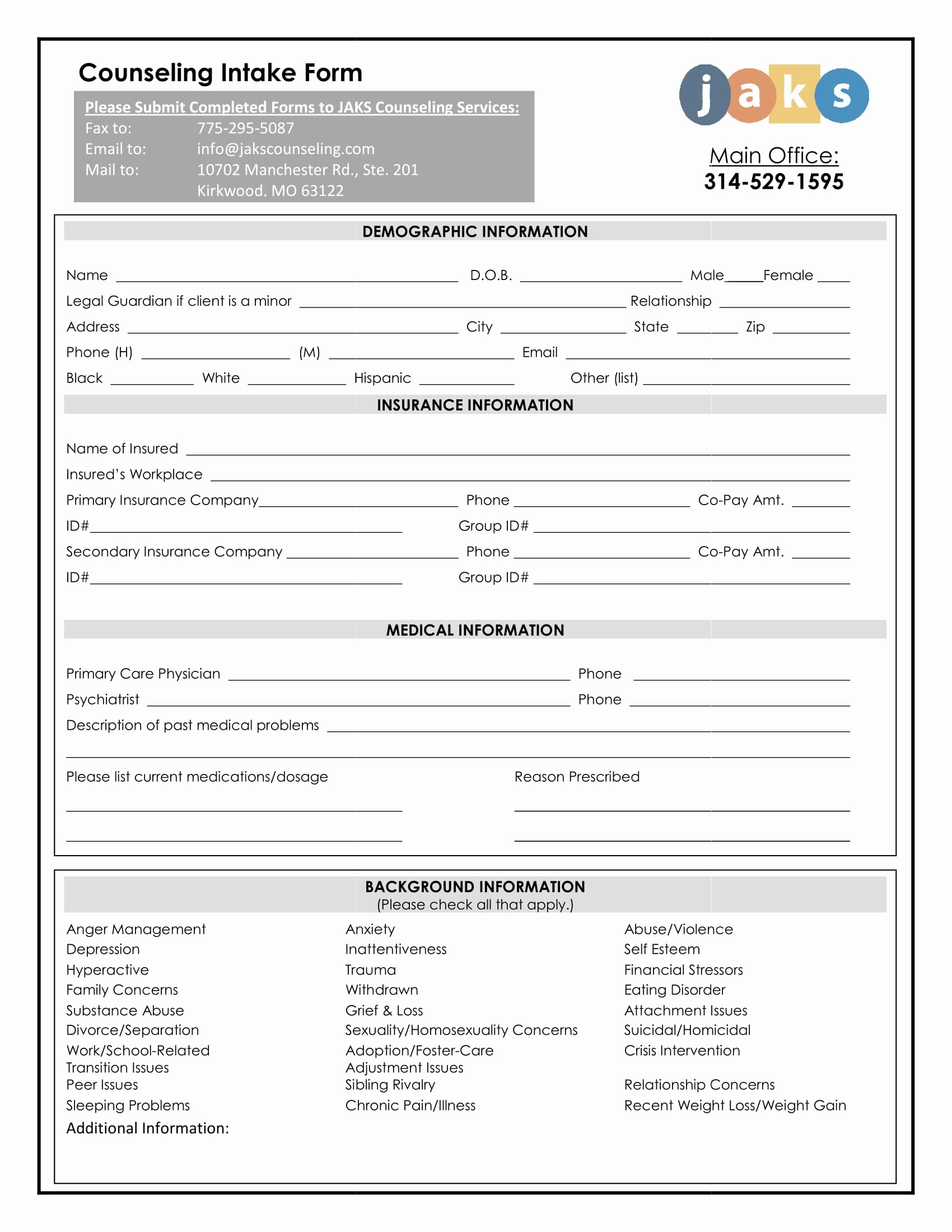 Counseling Intake form Template New Benefits Of Using Intake forms for Medication Treatments