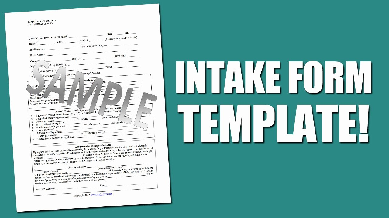 Counseling Intake form Template New Best Intake form Template for Mental Health assessment
