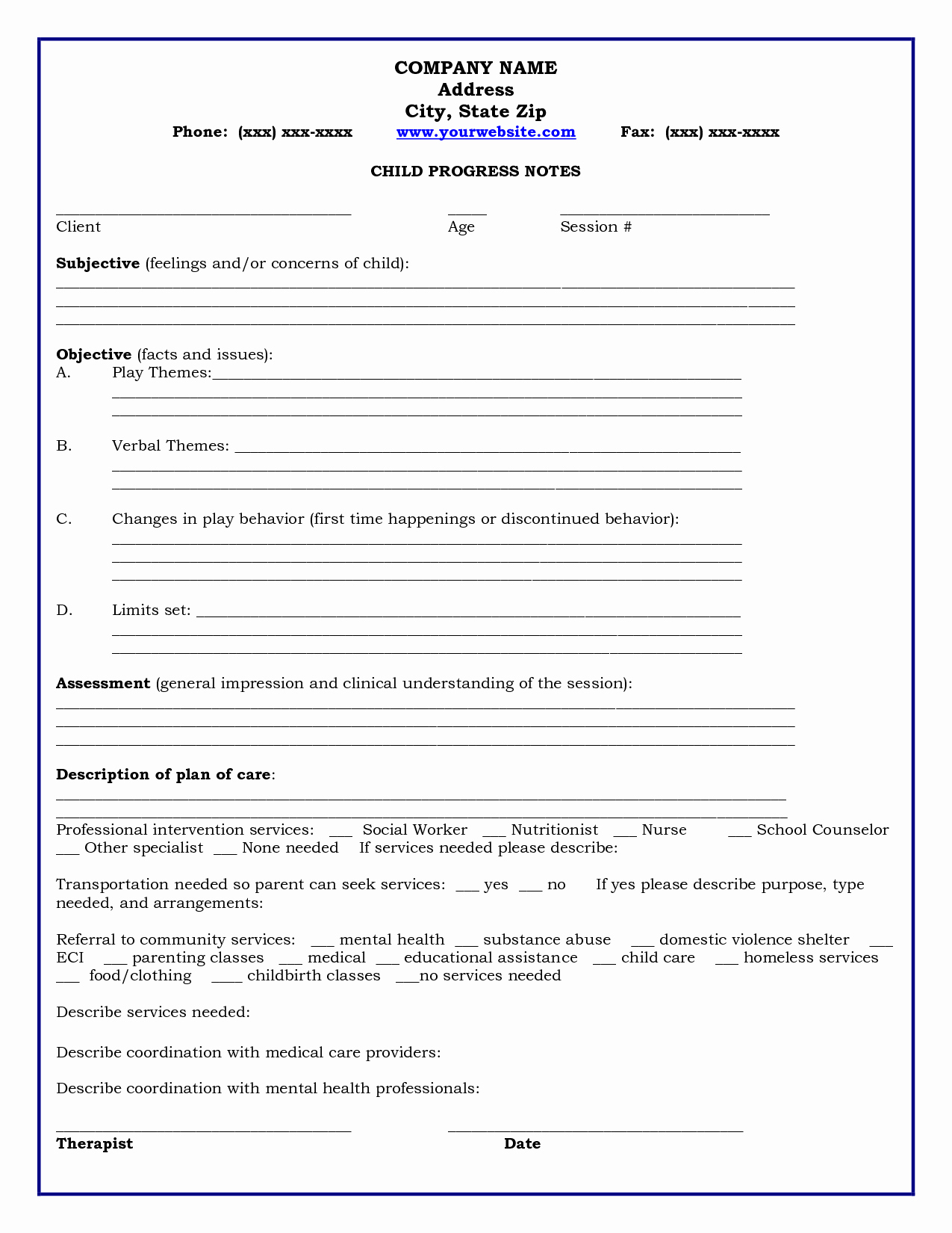 Counseling Progress Note Template Inspirational Home Child Progress Notes Medicaid Child Progress