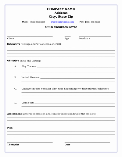 Counseling Progress Notes Template Fresh therapy Progress Note Template therapy