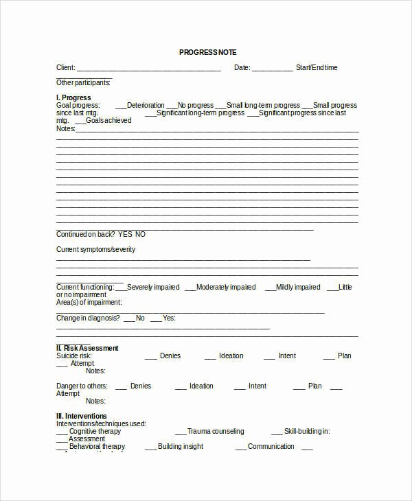 Counseling Progress Notes Template Inspirational 41 Free Note Templates
