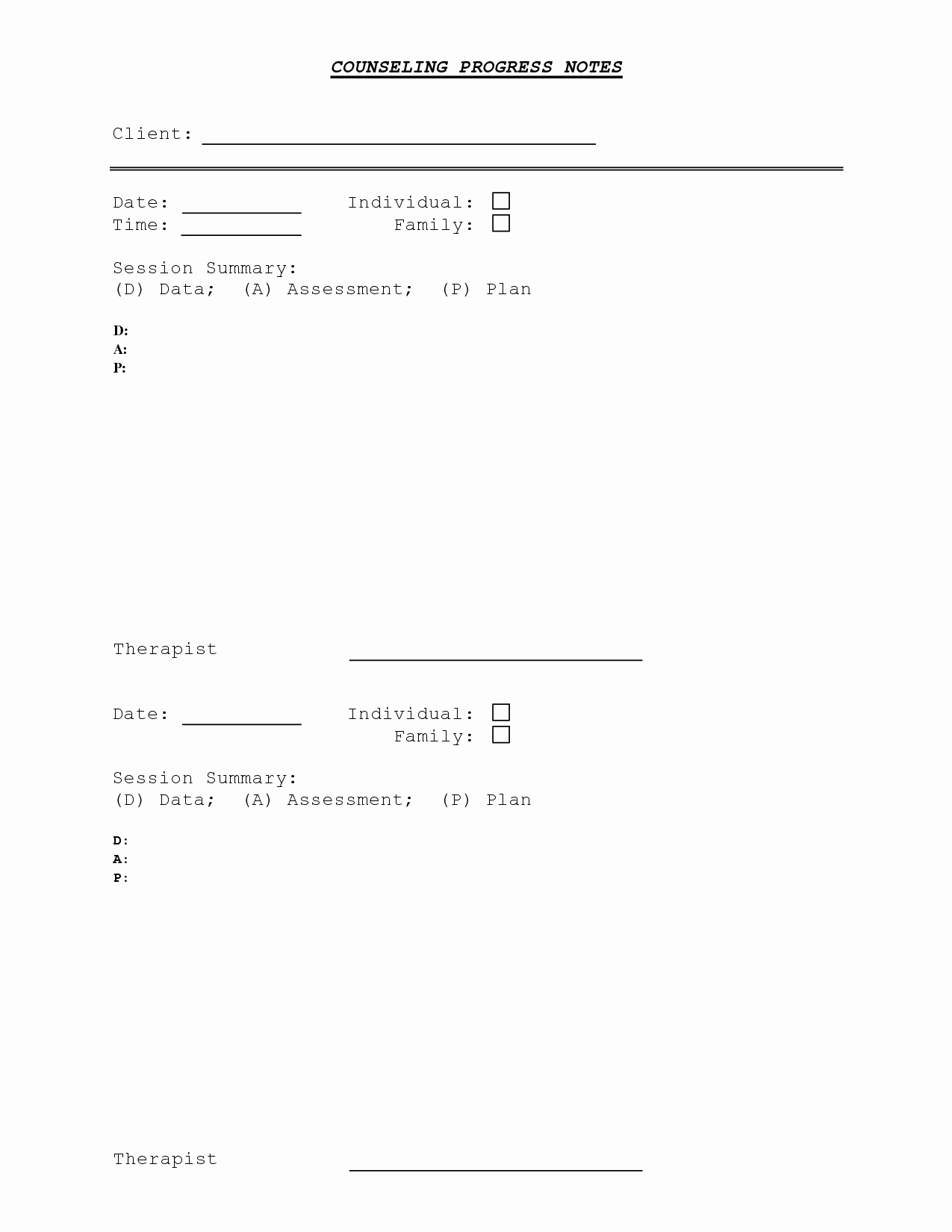 Counseling Session Notes Template Awesome Counseling Progress Note Template