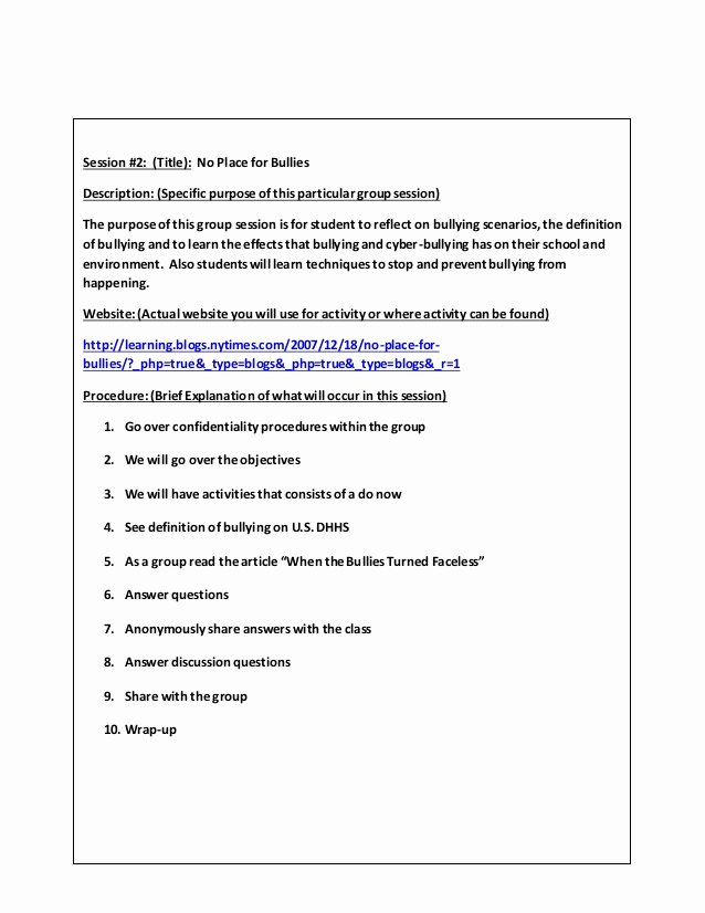 Counseling Session Notes Template Awesome Small Group Counseling Project Lessons Template