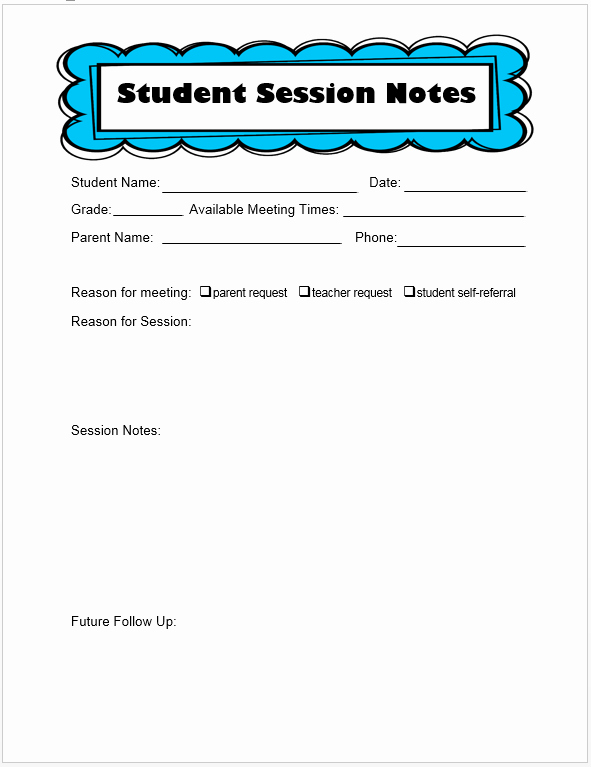 Counseling Session Notes Template Beautiful Keeping Track Of Counseling Notes the Middle School