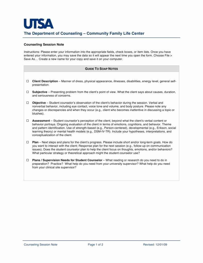 Counseling Session Notes Template Best Of 8 Counseling Note Templates Pdf