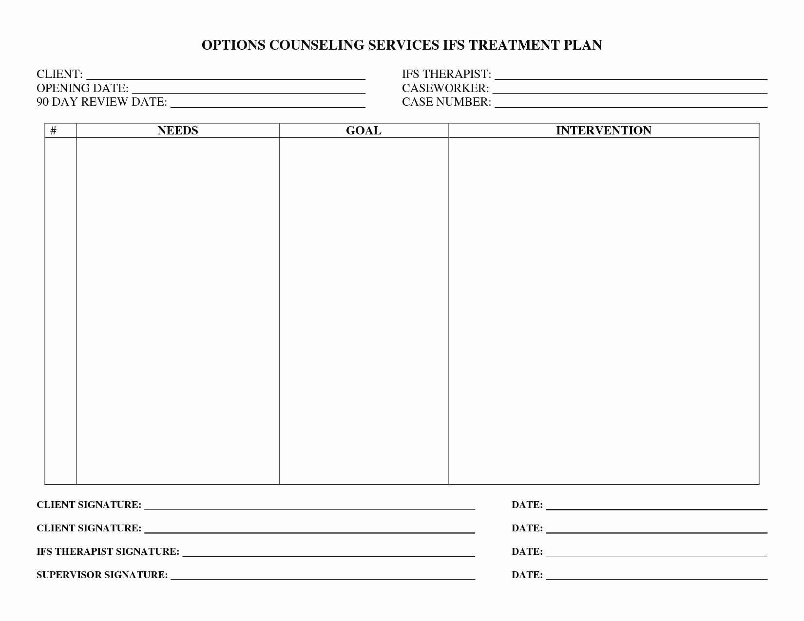 Counseling Treatment Plan Template Awesome Elegant Counseling Treatment Plan Template