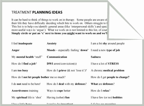 Counseling Treatment Plan Template Elegant Mental Health Treatment Planning Ideas Worksheet Google