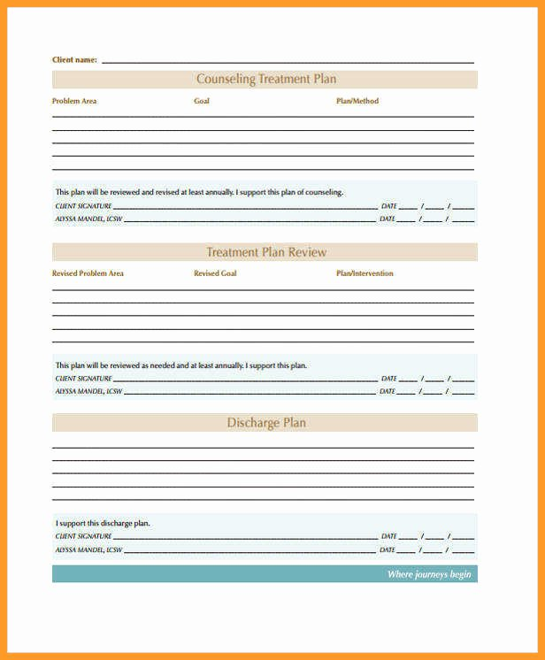Counseling Treatment Plan Template Lovely 5 6 Treatment Plan Template for Counseling